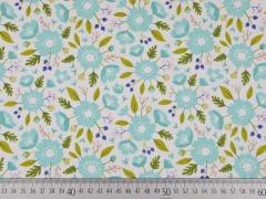Baumwolle Camelot Meadow Wildblumen, mint