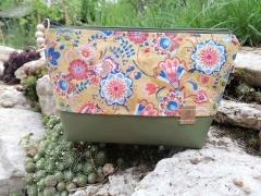 RESTSTÜCK 41 cm Baumwollstoff Paisley Blumen, helles senfgelb