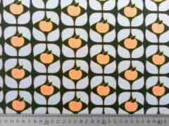 RESTSTÜCK 92 cm Sweat Stoff Äpfel Blätter, aprikot flieder dunkelgrün