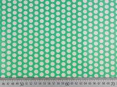 laminierte Baumwolle Punkte 9mm, weiß auf hellgrün