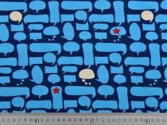 Jersey Sprechblasen, türkis auf dunkelblau