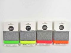Fertigbündchen Streifen, neonpink grau
