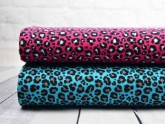 Jersey Leoparden Muster, schwarz pink