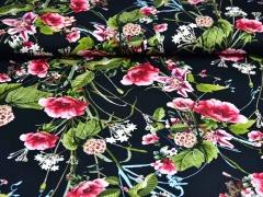 Viskose Jersey Digitaldruck Blumen, rot rosa auf schwarz