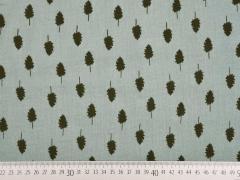 RESTSTÜCK 90 cm Double Gauze Musselin Bäume,khaki grüngrau