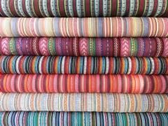 Dickerer Stoff Mexiko Ethno Look Streifen - pink bunt