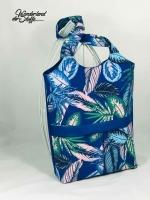 Dekostoff tropische Blätter, kobaltblau
