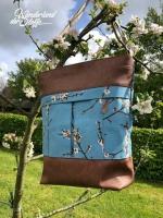 Dekostoff Kirschblüten Zweige, rauchblau