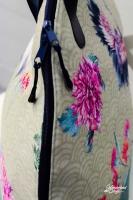 Dekostoff Half Panama Digitaldruck Kraniche Blumen, beige