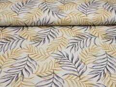 Leinenlook Dekostoff Palmblätter, grau ocker