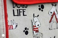 Leinenlook Dekostoff Hunde Dogs Life, natur
