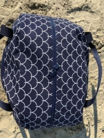 Dekostoff Wellen Schuppenmuster, weiß dunkelblau