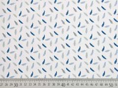 RESTSTÜCK 99 cm Baumwollstoff Federn, blau auf weiß