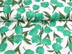 Baumwollsatin Tulpen, grün weiß