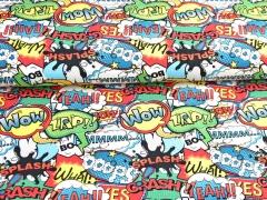 Jersey Comic Sprechblasen Farbkleckse, bunt weiß