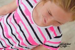Jersey Streifen 1 cm Farbkleckse, neonpink schwarz weiß