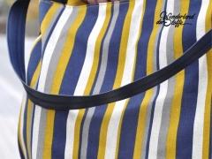 Dekostoff Leinenlook Streifen, senfgelb dunkelblau natur