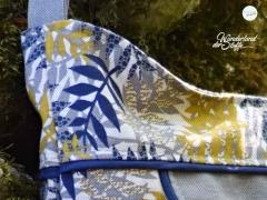 Dekostoff Leinenlook Palmblätter, senfgelb natur