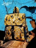 Dekostoff Leinenlook Pfeile Graffiti Style, dunkelblau senfgelb