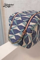 Dekostoff Leinenlook geometrisches Muster, grünpetrol dunkelblau natur