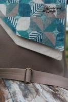 Dekostoff Leinenlook geometrisches Blättermuster, grünpetrol beige natur