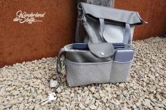 Dralon Teflon Outdoorstoff Rauten, grau