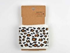 Fertigbündchen Leomuster, braun cremeweiß