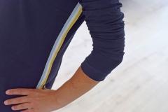 Webband Streifen 25 mm, hellblau weiß senfgelb