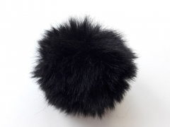 Kunstfellbommel Taschenanhänger 6 cm, schwarz