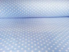 Fleece Punkte 7 mm, weiß auf hellblau