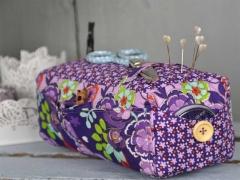 Baumwollstoff Streublümchen Blätter,orange flieder lila