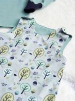 Jersey Bäume Laub Eicheln, grün hellblau hellgrau