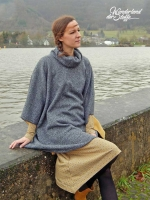 RESTSTÜCK 1,14m Strick meliert Doubleface Fleece, schwarz grau senfgelb