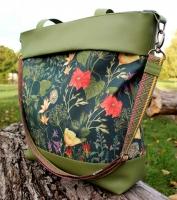 Canvas Blumen Blätter Digitadruck, coralle aprikot auf dunkelgrün