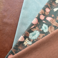 Canvas Stoff Hibiskus Blüten Blätter Digitaldruck, rauchblau altrosa mattes dunkelgrün