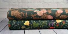 Canvas Hibiskus Blüten Blätter Digitaldruck, rauchblau altrosa mattes dunkelgrün