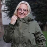 Rippenbündchen Hipster-Beanie Stoff, moosgrün