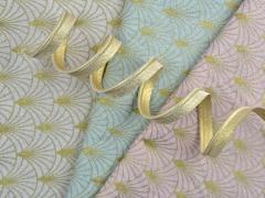 Dekostoff Gold Metallic Glitzer uni meliert, cremeweiß