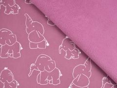 Softshell Stoff Elefanten,weiss altrosa