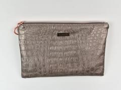 Lederimitat Krokodilhaut Prägung, taupe metallic