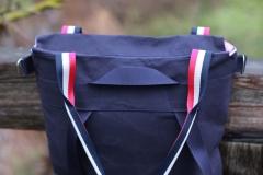 Baumwollstoff Streifen Segelboote, dunkelblau rot weiß