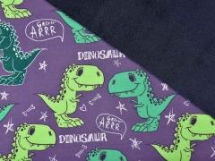 Softshell Stoff Dinosaurier Digitaldruck, grau