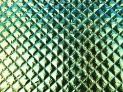 RESTSTÜCK 87 cm Steppstoff wattiert Jackenstoff, metallic grün