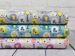 Baumwollstoff Elefanten Luftballons, weiß gelb hellblau