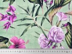 Dekostoff tropische Blumen Blätter Half Panama, pink mint
