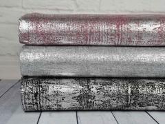 Strickstoff Foliendruck silber metallic, schwarz