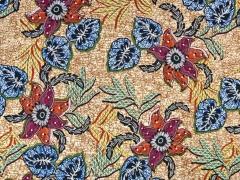 Viskosejersey exotische Blumen, blau terracota beige