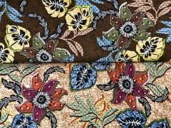Viskosejersey exotische Blumen, khaki gelb braun