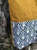 Dekostoff Fächer Half Panama, nachtblau weiß ocker