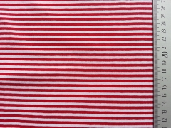 RESTSTÜCK 24 cm Ringeljersey 3mm - rot & weiß (garn-gefärbt)